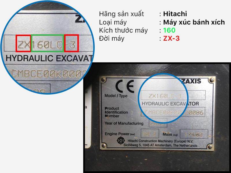 Bảng kẽm máy xúc Hitachi