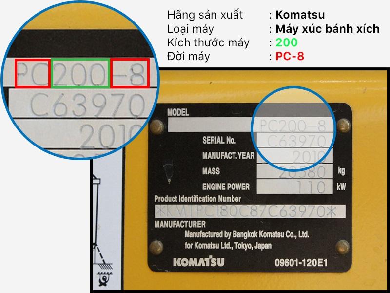 Bảng kẽm máy xúc Komatsu